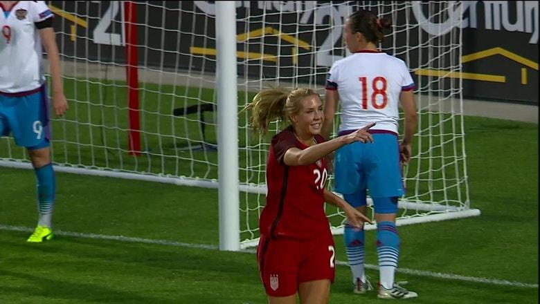 Allie Long nets header for 2-0 lead | Women's International Friendly Highlights