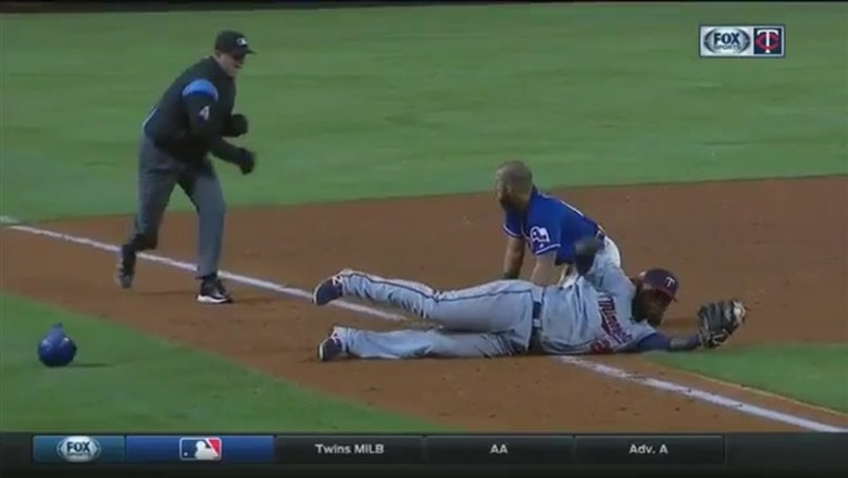 WATCH: Miguel Sano makes acrobatic play to tag out Odor
