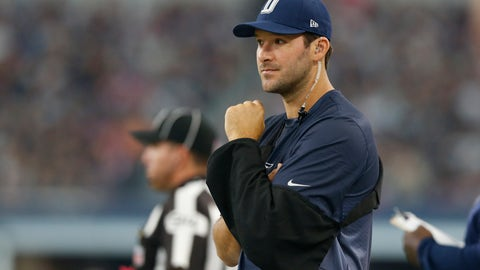 Oct 11, 2015; Arlington, TX, USA; Dallas Cowboys injured quarterback Tony Romo (9) on the sidelines during the third quarter against the New England Patriots at AT&T Stadium. Mandatory Credit: Matthew Emmons-USA TODAY Sports