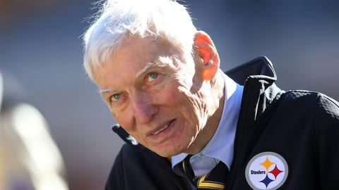 Nov 8, 2015; Pittsburgh, PA, USA; Pittsburgh Steelers chairman Dan Rooney in attendance as the Steelers host the Oakland Raiders at Heinz Field. Mandatory Credit: Charles LeClaire-USA TODAY Sports