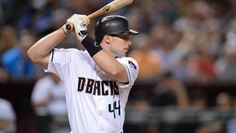Sep 16, 2016; Phoenix, AZ, USA; Arizona Diamondbacks first baseman Paul Goldschmidt (44) bats against the Los Angeles Dodgers at Chase Field. The Dodgers won 3-1. Mandatory Credit: Joe Camporeale-USA TODAY Sports