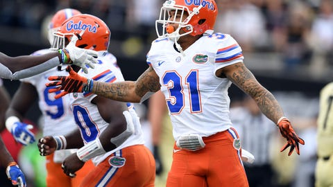 Oct 1, 2016; Nashville, TN, USA; Florida Gators defensive back Teez Tabor (31) celebrates after an interception during the first half against the Vanderbilt Commodores at Vanderbilt Stadium. Mandatory Credit: Christopher Hanewinckel-USA TODAY Sports