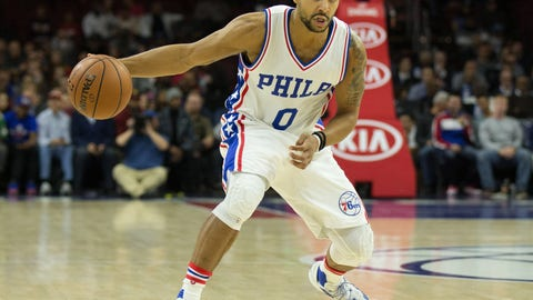 Nov 21, 2016; Philadelphia, PA, USA; Philadelphia 76ers guard Jerryd Bayless (0) dribbles against the Miami Heat during the first quarter at Wells Fargo Center. Mandatory Credit: Bill Streicher-USA TODAY Sports