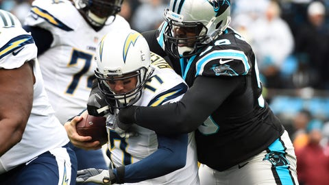 Dec 11, 2016; Charlotte, NC, USA; Carolina Panthers defensive tackle Kawann Short (99) sacks San Diego Chargers quarterback Philip Rivers (17) in the first quarter at Bank of America Stadium. Mandatory Credit: Bob Donnan-USA TODAY Sports