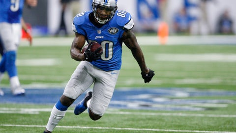 Dec 11, 2016; Detroit, MI, USA; Detroit Lions wide receiver Anquan Boldin (80) runs after a catch during the fourth quarter against the Chicago Bears at Ford Field. Lions win 20-17. Mandatory Credit: Raj Mehta-USA TODAY Sports