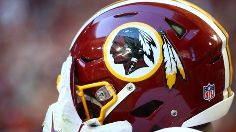 Dec 4, 2016; Glendale, AZ, USA; Detailed view of a Washington Redskins logo on a helmet against the Arizona Cardinals at University of Phoenix Stadium. Mandatory Credit: Mark J. Rebilas-USA TODAY Sports