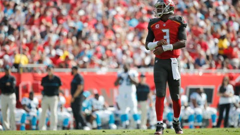 Jan 1, 2017; Tampa, FL, USA;  Tampa Bay Buccaneers quarterback Jameis Winston (3) looks on against the Carolina Panthers during the first quarter at Raymond James Stadium. Mandatory Credit: Kim Klement-USA TODAY Sports