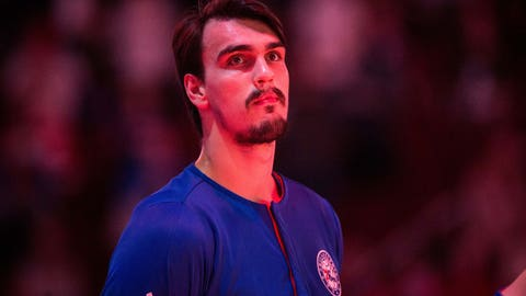 Mar 29, 2017; Philadelphia, PA, USA; Philadelphia 76ers forward Dario Saric (9) stands for the national anthem prior to action against the Atlanta Hawks at Wells Fargo Center. Mandatory Credit: Bill Streicher-USA TODAY Sports