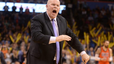 Apr 2, 2017; Oklahoma City, OK, USA; Charlotte Hornets head coach Steve Clifford reacts to a call in action against the Oklahoma City Thunder during the fourth quarter at Chesapeake Energy Arena. Mandatory Credit: Mark D. Smith-USA TODAY Sports