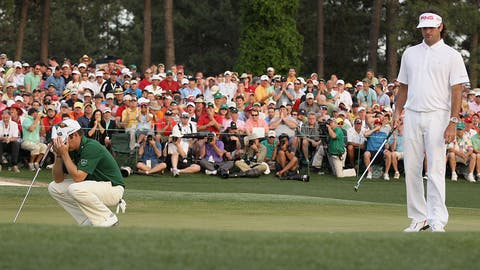 AUGUSTA, GA - APRIL 08:  Louis Oosthuizen of South Africa reacts to missing a birdie putt on the first playoff hole as Bubba Watson looks on during the final round of The Masters at Augusta National Golf Club on April 8, 2012 in Augusta, Georgia.  (Photo by Scott Halleran/Getty Images for Golfweek)
