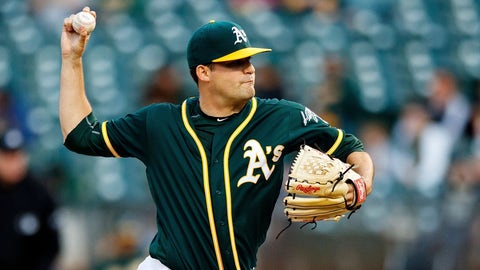 OAKLAND, CA - APRIL 18:  Andrew Triggs #60 of the Oakland Athletics pitches against the Texas Rangers during the second inning at the Oakland Coliseum on April 18, 2017 in Oakland, California. (Photo by Jason O. Watson/Getty Images)