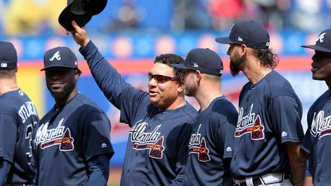 Apr 3, 2017; New York City, NY, USA; Atlanta Braves starting pitcher Bartolo Colon (40) acknowledges the fans as he's introduced before a game against the New York Mets at Citi Field. Mandatory Credit: Brad Penner-USA TODAY Sports