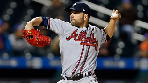 Apr 6, 2017; New York City, NY, USA; Atlanta Braves starting pitcher Jaime Garcia (54) pitches against the New York Mets during the fourth inning at Citi Field. Mandatory Credit: Adam Hunger-USA TODAY Sports