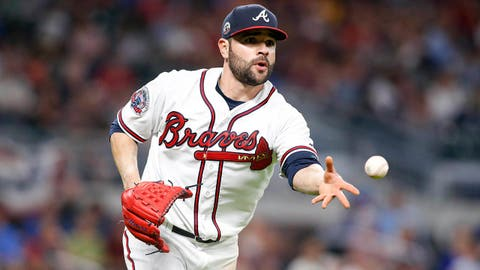 Apr 17, 2017; Atlanta, GA, USA; Atlanta Braves starting pitcher Jaime Garcia (54) tosses to first for an out against the San Diego Padres in the sixth inning at SunTrust Park. Mandatory Credit: Brett Davis-USA TODAY Sports