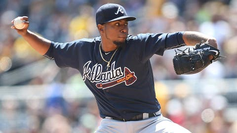 Apr 9, 2017; Pittsburgh, PA, USA; Atlanta Braves starting pitcher Julio Teheran (49) delivers a pitch against the Pittsburgh Pirates during the first inning at PNC Park. Mandatory Credit: Charles LeClaire-USA TODAY Sports