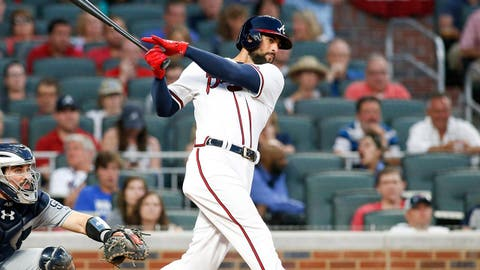 Apr 15, 2017; Atlanta, GA, USA; Atlanta Braves right fielder Nick Markakis hits a RBI single against the San Diego Padres in the third inning at SunTrust Park. Mandatory Credit: Brett Davis-USA TODAY Sports