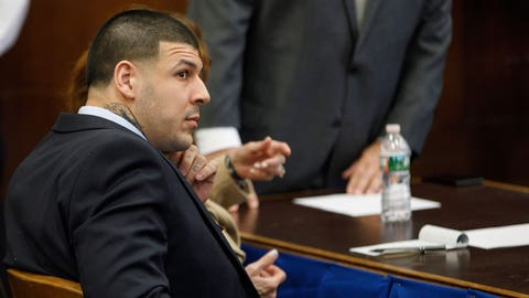 BOSTON, MA - APRIL 12: Former New England Patriots tight end Aaron Hernandez sits at the defense table during jury deliberations in his double murder trial at Suffolk Superior Court  in Boston on Apr. 12, 2017. Hernandez is charged in the July 2012 killings of Daniel de Abreu and Safiro Furtado who he encountered in a Boston nightclub. The former NFL football player already is serving a life sentence in the 2013 killing of semi-professional football player Odin Lloyd. (Photo by Keith Bedford/The Boston Globe via Getty Images)