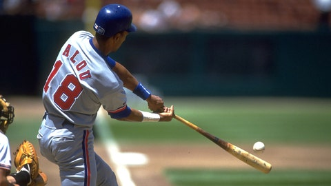 21 JUL 1993:  MONTREAL EXPOS OUTFIELDER MOISES ALOU MAKES CONTACT ON PITCH AGAINST THE SAN FRANCISCO GIANTS AT CANDLESTICK PARK IN SAN FRANCISCO, CALIFORNIA.