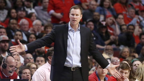 Chicago Bulls' Fred Hoiberg tries to get a call from an official during the second half in Game 3 of an NBA basketball first-round playoff series against the Boston Celtics in Chicago, Friday, April 21, 2017. The Celtics won 104-87. (AP Photo/Charles Rex Arbogast)