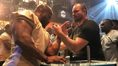 National Football League  could fine players for arm wrestling at Las Vegas casino