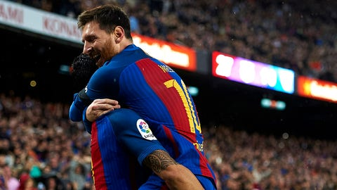 BARCELONA, SPAIN - APRIL 05:  Lionel Messi (R) of Barcelona celebrates with Luis Suarez after scoring a goal during the La Liga match between FC Barcelona and Sevilla FC at Camp Nou Stadium on April 5, 2017 in Barcelona, Spain.  (Photo by fotopress/Getty Images)