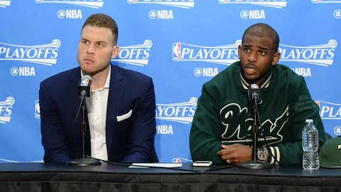 LOS ANGELES, CA - APRIL 15:  Blake Griffin #32 and Chris Paul #3 of the Los Angeles Clippers speak to the media after the game against the Utah Jazz in Game One of Round One during the 2017 NBA Playoffs on April 15, 2017 at STAPLES Center in Los Angeles, California. NOTE TO USER: User expressly acknowledges and agrees that, by downloading and/or using this Photograph, user is consenting to the terms and conditions of the Getty Images License Agreement. Mandatory Copyright Notice: Copyright 2017 NBAE (Photo by Andrew D. Bernstein/NBAE via Getty Images)