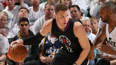 SALT LAKE CITY, UT - APRIL 21: Blake Griffin #32 of the LA Clippers posts up against the Utah Jazz during Game Three of the Western Conference Quarterfinals of the 2017 NBA Playoffs on April 21, 2017 at vivint.SmartHome Arena in Salt Lake City, Utah. NOTE TO USER: User expressly acknowledges and agrees that, by downloading and or using this Photograph, User is consenting to the terms and conditions of the Getty Images License Agreement. Mandatory Copyright Notice: Copyright 2017 NBAE (Photo by Melissa Majchrzak/NBAE via Getty Images)