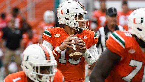 MIAMI GARDENS, FL - NOVEMBER 26: Brad Kaaya #15 of the Miami Hurricanes drops back to pass during the first quarter against the Duke Blue Devils at Hard Rock Stadium on November 26, 2016 in Miami Gardens, Florida. (Photo by Eric Espada/Getty Images)