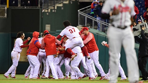 Apr 22, 2017; Philadelphia, PA, USA; Philadelphia Phillies celebrate walk-off hit by Philadelphia Phillies third baseman Maikel Franco (7) during the tenth inning against the Atlanta Braves at Citizens Bank Park. The Phillies defeated the Braves, 4-3 in 10 innings. Mandatory Credit: Eric Hartline-USA TODAY Sports