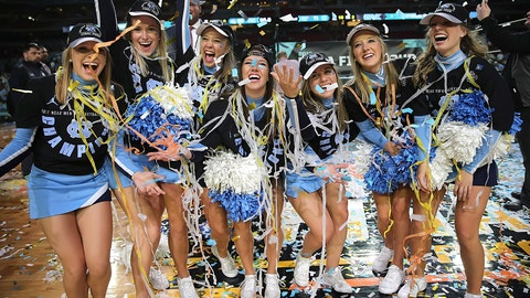 A confetti shower for the Tar Heels' cheer squad.