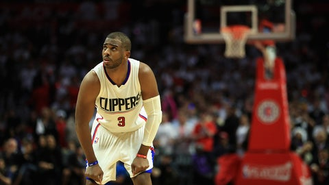 LOS ANGELES, CA - APRIL 25:  Chris Paul #3 of the Los Angeles Clippers looks on during the second half of Game Five of the Western Conference Quarterfinals against the Utah Jazz at Staples Center at Staples Center on April 25, 2017 in Los Angeles, California.  NOTE TO USER: User expressly acknowledges and agrees that, by downloading and or using this photograph, User is consenting to the terms and conditions of the Getty Images License Agreement.  (Photo by Sean M. Haffey/Getty Images)
