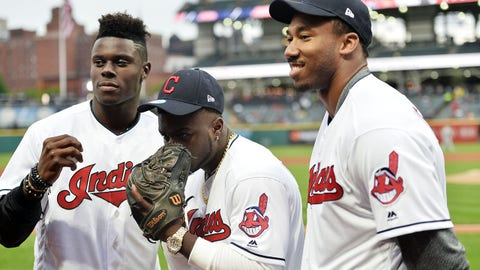 Apr 28, 2017; Cleveland, OH, USA; Cleveland Browns first round draft picks, David Njoku, left, Jabrill Peppers, center and Myles Garrett poses for a photo before the game between the Cleveland Indians and the Seattle Mariners at Progressive Field. Mandatory Credit: Ken Blaze-USA TODAY Sports