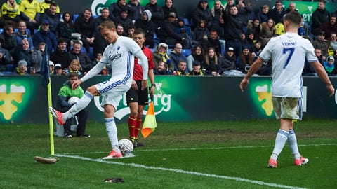 BRONDBY, DENMARK - APRIL 17: Ludvig Augustinsson of FC Copenhagen kicks to a rat thrown on to the pitch by fans of Brondby IF during the Danish Alka Superliga match between Brondby IF and FC Copenhagen at Brondby Stadion on April 17, 2017 in Brondby, Denmark. (Photo by Lars Ronbog / FrontZoneSport via Getty Images)