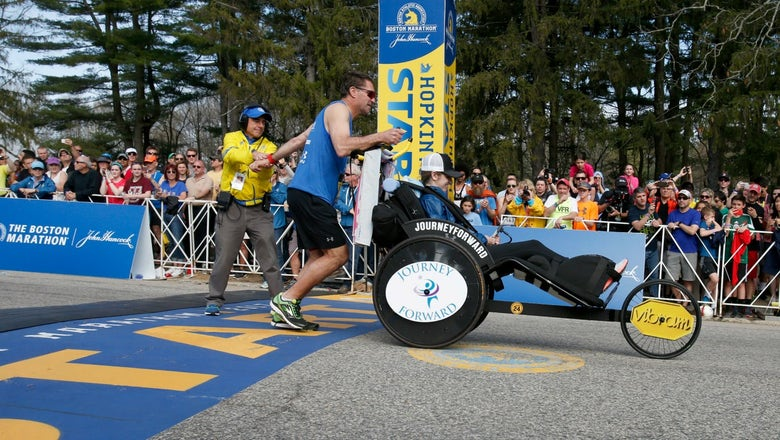 Paralyzed NWHL player Denna Laing teams up with ex-NHLer to finish Boston Marathon