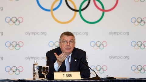 International Olympic Committee President Thomas Bach speaks during a press conference in Pyeongchang, South Korea, Friday, March 17, 2017. The International Olympic Committee has moved closer toward picking both Los Angeles and Paris to host a Summer Games in an unprecedented double vote this year. (Yoo Hyung-jae/Yonhap via AP)
