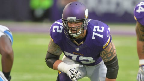 MINNEAPOLIS, MN - NOVEMBER 06:  Jake Long #72 of the Minnesota Vikings lines up during an NFL game against the Detroit Lions at U.S. Bank Stadium November 6, 2016 in Minneapolis, Minnesota.  (Photo by Tom Dahlin/Getty Images)