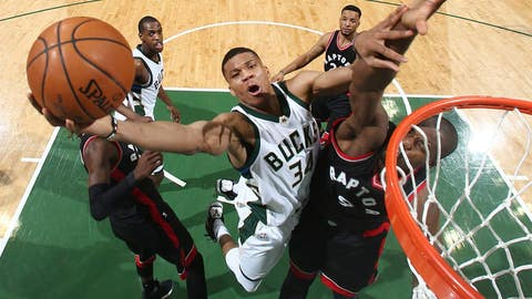 Milwaukee, WI - APRIL 27:  Giannis Antetokounmpo #34 of the Milwaukee Bucks goes up for a shot against the Toronto Raptors during Game Six of the Eastern Conference Quarterfinals of the 2017 NBA Playoffs on April 27, 2017 at the BMO Harris Bradley Center in Milwaukee, Wisconsin. NOTE TO USER: User expressly acknowledges and agrees that, by downloading and/or using this photograph, user is consenting to the terms and conditions of the Getty Images License Agreement. Mandatory Copyright Notice: Copyright 2017 NBAE (Photo by Nathaniel S. Butler/NBAE via Getty Images)