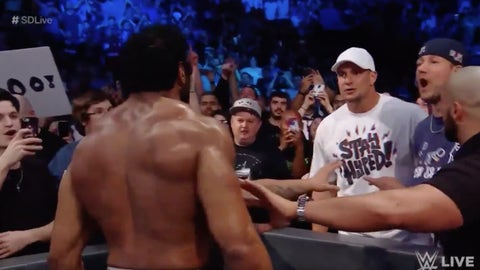Rob Gronkowski Throws Beer on Wrestler Jinder Mahal at WWE Smackdown