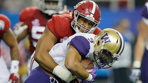 ATLANTA, GA - DECEMBER 31:  Jonathan Allen #93 of the Alabama Crimson Tide tackles Myles Gaskin #9 of the Washington Huskies during the 2016 Chick-fil-A Peach Bowl at the Georgia Dome on December 31, 2016 in Atlanta, Georgia.  (Photo by Kevin C. Cox/Getty Images)
