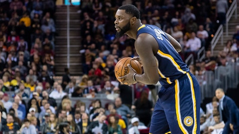 CLEVELAND, OH - APRIL 2: Lance Stephenson #6 of the Indiana Pacers looks for a play during the first half against the Cleveland Cavaliers at Quicken Loans Arena on April 2, 2017 in Cleveland, Ohio. NOTE TO USER: User expressly acknowledges and agrees that, by downloading and/or using this photograph, user is consenting to the terms and conditions of the Getty Images License Agreement. (Photo by Jason Miller/Getty Images)