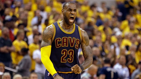 Cleveland Cavaliers forward LeBron James celebrates a basket against the Indiana Pacers during the second half of Game 3 of a first-round NBA basketball playoff series, Thursday, April 20, 2017, in Indianapolis. The Cavaliers defeated the Pacers 119-114. (AP Photo/Michael Conroy)
