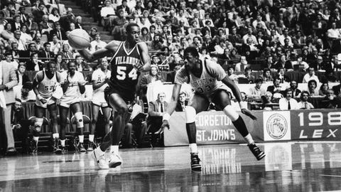 LEXINGTON,KY - APRIL 1: Patrick Ewing #33 of Georgetown University guards Ed Pinckney #54 of Villanova University at the 1985 NCAA Championship Game at Rupp Arena on April 1, 1985 in Lexington, Kentucky. The Wildcats upset the Hoyas 66-64. (Photo by Georgetown/Collegiate Images/Getty Images.)