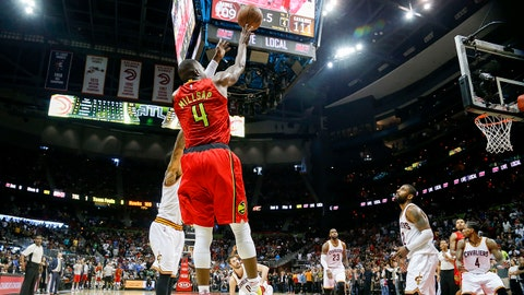 Apr 9, 2017; Atlanta, GA, USA; Atlanta Hawks forward Paul Millsap (4) hits a shot to send the game into overtime against the Cleveland Cavaliers in the fourth quarter at Philips Arena. The Hawks defeated the Cavaliers 126-125. Mandatory Credit: Brett Davis-USA TODAY Sports