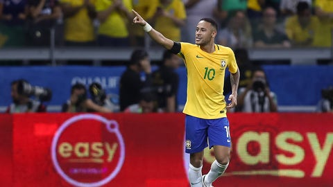 BELO HORIZONTE, BRAZIL - NOVEMBER 10: Neymar of Brazil celebrates a scored goal against Argentina during a match between Brazil and Argentina as part of 2018 FIFA World Cup Russia Qualifier at Mineirao stadium on November 10, 2016 in Belo Horizonte, Brazil. (Photo by Buda Mendes/Getty Images)