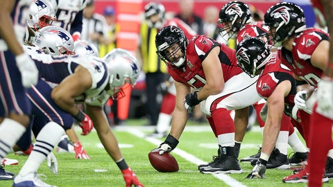Atlanta Falcons Alex Mack #51 prepares to snap the ball against the New England Patriots at Super Bowl 51 on Sunday, February 5, 2017 in Houston, TX. (AP Photo/Gregory Payan)