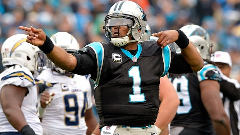 CHARLOTTE, NC - DECEMBER 11:  Cam Newton #1 of the Carolina Panthers signals a first down against the San Diego Chargers in the 1st quarter during the game at Bank of America Stadium on December 11, 2016 in Charlotte, North Carolina.  (Photo by Grant Halverson/Getty Images)