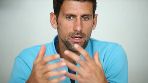 MONTE-CARLO, MONACO - APRIL 16:  Novak Djokovic of Serbia talks to the media during a press conference on day one of the Monte Carlo Rolex Masters at Monte-Carlo Sporting Club on April 16, 2017 in Monte-Carlo, Monaco.  (Photo by Clive Brunskill/Getty Images)