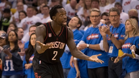 OKLAHOMA CITY, OK - APRIL 21: Patrick Beverley #2 of the Houston Rockets argues a foul call against the Oklahoma City Thunder  during the second half of Game Three in the 2017 NBA Playoffs Western Conference Quarterfinals  on April 21, 2017 in Oklahoma City, Oklahoma. Oklahoma City defeated Houston 115-113   NOTE TO USER: User expressly acknowledges and agrees that, by downloading and or using this photograph, User is consenting to the terms and conditions of the Getty Images License Agreement. (Photo by J Pat Carter/Getty Images)