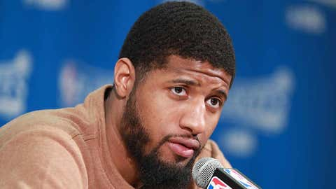 INDIANAPOLIS, IN - APRIL 23: Paul George #13 of the Indiana Pacers speaks during the post-game press conference after the game against the Cleveland Cavaliers during Game Four of the Eastern Conference Quarterfinals of the 2017 NBA Playoffs on April 23, 2017 at Bankers Life Fieldhouse in Indianapolis, Indiana. NOTE TO USER: User expressly acknowledges and agrees that, by downloading and or using this photograph, User is consenting to the terms and conditions of the Getty Images License Agreement. Mandatory Copyright Notice: Copyright 2017 NBAE (Photo by Jeff Haynes/NBAE via Getty Images)