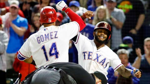 Gomez greeted at the plate